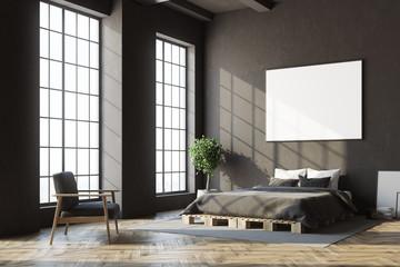 Black bedroom corner, horizontal poster