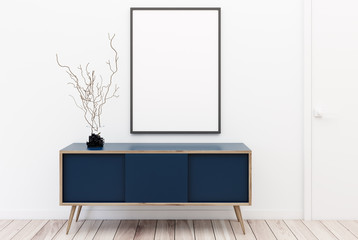 Blue chest of drawers, poster, white