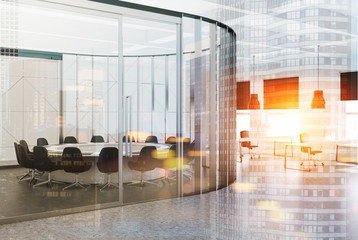 White round meeting room interior toned