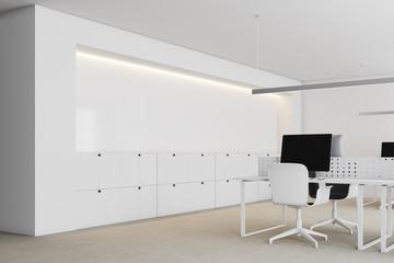 Modern white office corner close up