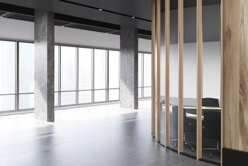 Round wooden meeting room, columns