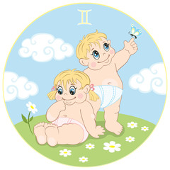Gemini. Baby sign of the zodiac. Two cute kids in the meadow.