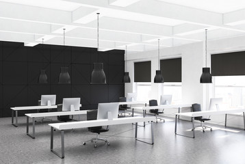 Black open space office corner, rows of desks