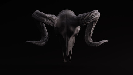 Grey Sculpted Ram Skull