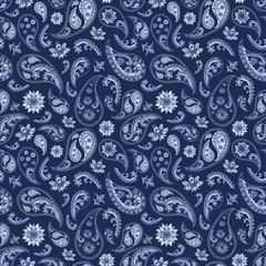 Paisley oriental blue navy background
