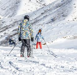 Skiing in the ski resort