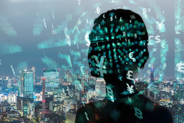 Silhouette of woman and financial technology concept. AI(Artificial Intelligence).