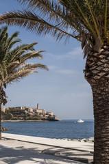 Corsica, 03/09/2017: lo skyline dell'antica cittadella di Bastia, la città alla base del Capo Corso, vista dal lungomare