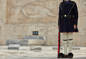 Evzonas Guardian in front of the Greek parliament in   Athens, Greece.