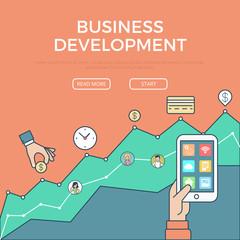 Linear flat Business digital development vector template