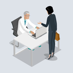 Flat isometric male female doctors medic healthcare vector