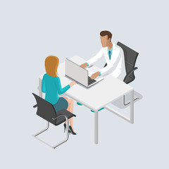 Flat isometric male female doctor medic healthcare vector