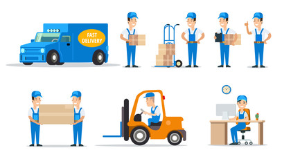 Flat 3d moving delivery man couriers car vector set