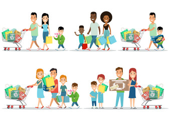 Flat Happy parents children purchases cart vector set. Shopping.