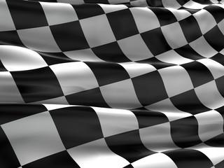 Checkered flag, finish flag, race flag. 3d rendering