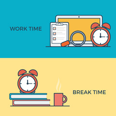 Linear flat work and break time management infographic vector