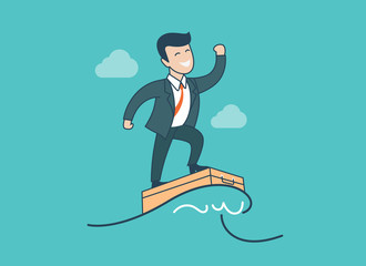 Linear Flat businessman wave surfing vector. Successful Business