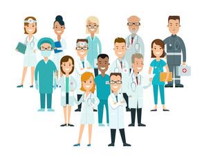 Flat male female doctors nurses medical team healthcare vector