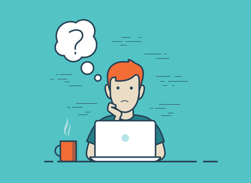 Flat linear question vector question workplace. Man working laptop