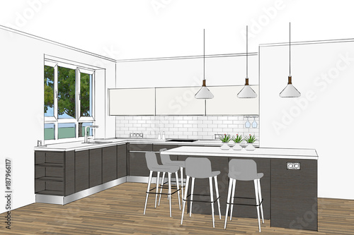 3d Rendering Modern Kitchen Design In Light Interior Kitchen