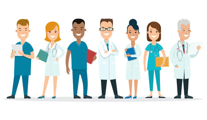 Flat male female doctors nurses medical team healthcare vector