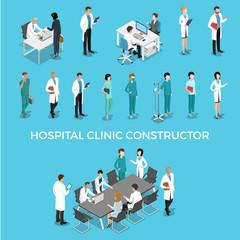 Flat isometric male female doctors nurse medic healthcare vector