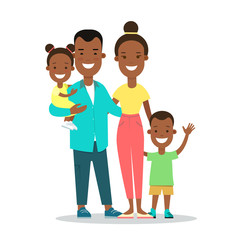 Flat Family children vector parenting illustration Mother father