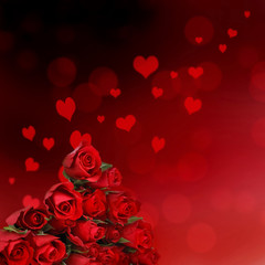 valentine card with red roses in abstract herats background