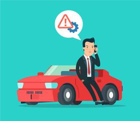 Car repair service concept flat icon sportcar. Man accident