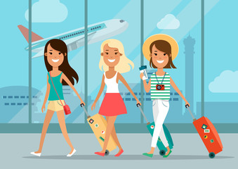 Flat young girls baggage in airport, tickets vector. Vacation