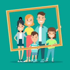 Flat Family portrait vector illustration. Children and parents
