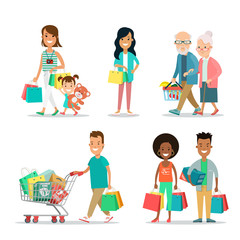 Flat Happy family shopping people with purchases box vector set