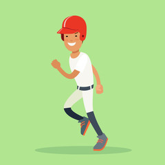 Flat baseball player sportsmen vector. Batter hitter running