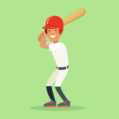 Flat baseball player sportsmen vector. Batter hitter bat