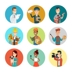 Flat professional people character vector profession userpic set