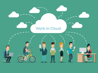 Flat Cloud storage infographics vector Mobile app people device