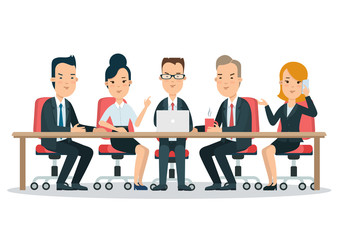 Flat business meeting room report vector. People sitting, laptop