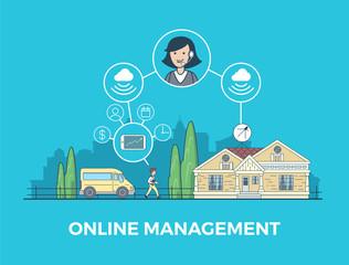 Linear flat online management Smart home app infographics