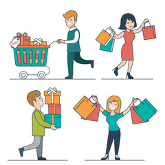 Flat linear Happy people purchases cart vector set. Shopping.