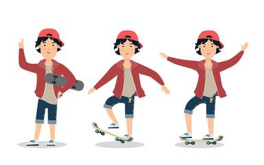 Flat boy skateboarding sport vector. Male teen skater on skate
