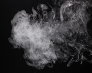 White isolated mist of e-cigarette