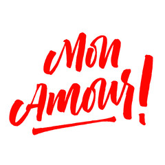 Mon Amour lettering Valentine day