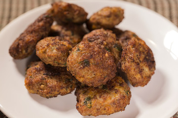 Close up of fried meatballs made from pork and beef meat