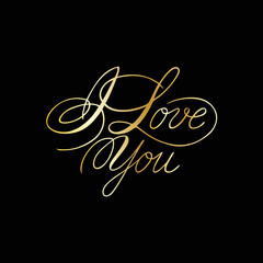 Phrase I love you cursive font with swirls. Lettering and calligraphy.