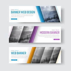 Design of white banners with diagonal stripes for a photo.
