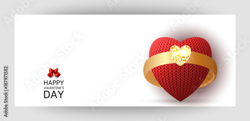 A Horizontal Gift Design Background With A Knitted Heart And A Gold