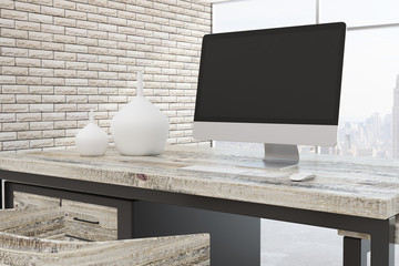 Modern office room with city view closeup