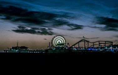 Santa monica pier structure at sunset