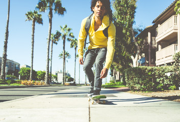 Skater boy on the street in Los angeles