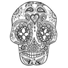 Mexican Sugar Skull fron coloring page